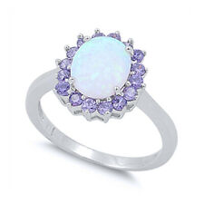 Women 14mm 925 Silver Simulated White Opal Purple CZ Flower Ladies Ring Band