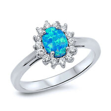Women 11mm Sterling Silver Oval Simulated Blue Opal CZ Flower Ladies Ring Band