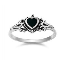Women 8mm 925 Silver Simulated Black Onyx Vintage Style Heart Promise Ring Band