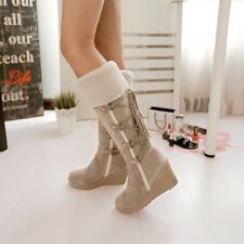 2016 Women's Knee High Boots Faux Suede Fringe Wedge Heel Tassels Strappy Shoes