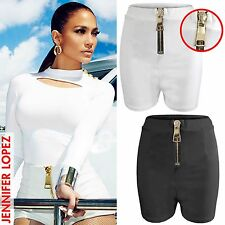 NEW LADIES BIG GOLD ZIP HOT PANTS WOMENS HIGH WAISTED SHORTS CELEB LOOK SHORT