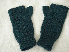 New Alpaca Blended Wrist Warmers From Peru Petite Young Adult #Emerald Green
