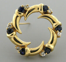VINTAGE 14K GOLD DIAMOND BLUE SAPPHIRE CIRCLE BROOCH PIN