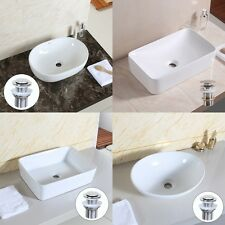 US STOCK Bathroom Rectangle/Oval Sink+ Drain/Basin Sink Mixer Tap/Sink Pipe NEW
