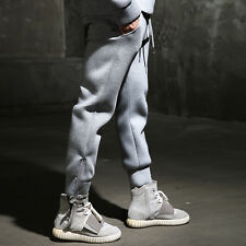 ByTheR Men's Gray Neoprene Waist Banding Strap Ankle Zipper Jogger Pants Slacks