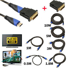 NEW Braided HDMI Cable + DVI Adapter HD 3D for PS3 Xbox HDTV Meters 1080P DF LOT
