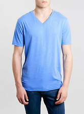 MENS BLUE V NECK T-SHIRT WITH SHORT SLEEVES FROM TOPMAN SIZES S OR M BNWT