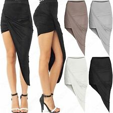 NEW WOMENS LADIES CELEB ASSYMETRIC SKIRTS DRAPED RUCHED HEM 2IN1 LONG LOOK MINI