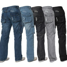 New Mens ENZO Cargo Combat Denim Designer Denim Jeans Pants All Waist Sizes Cool