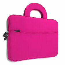 Hot Pink Handle Neoprene Sleeve with Front Pocket Laptop Ultrabook Case Cover