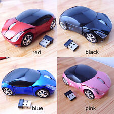 2.4GHz 3D Optical Wireless Mouse Mice Car Shape 1600DPI USB Receiver PC Win7