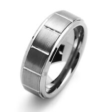 Men 8MM Comfort Fit Tungsten Carbide Wedding Band Beveled Edges Groove Ring