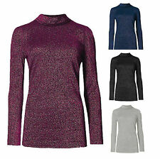 New Ladies Lurex Plus Size Knitted Polo Neck Ribbed Jersey High Neck Top UK 8-26