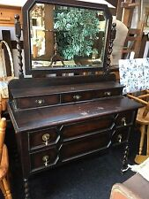 STUNNING VINTAGE/ANTIQUE DRESSING TABLE WITH MIRROR - SHABBY CHIC CHALK PAINT