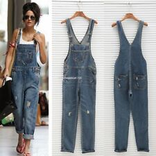 Women's Washed Jeans Denim Casual Hole Loose Jumpsuit Romper Overall Pants