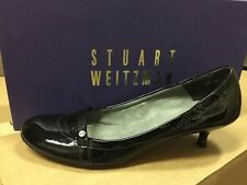 Stuart Weitzman Women's Mystud Black Patent Leather Low Heel Pump