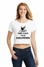 I Can't Keep Calm I'm A Drummer Ladies Crop Top Shirt Music Band Rock n Roll Z7