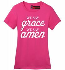 We Say Grace We Say Amen Ladies Soft T Shirt Religious Christian Gift Tee Z4