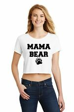 Mama Bear Ladies Crop Top Shirt Cute Mothers Day Mom Mommy Gift Z7