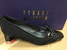 Stuart Weitzman Women's Becca Black Crepe Fabric and Paten Leather Low Heel Pump