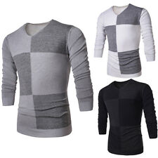 Nice New Men's Slim Fit V-neck Casual Knit Pullover Sweater Long Sleeve Tops uy4
