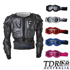 Child ARMOR Jacket Guard Bike & Motocross Gear black + Kid Boy/Girl Goggles XMAS