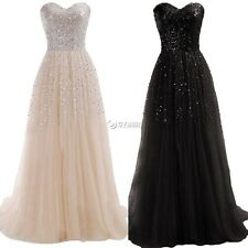 Women Sexy Long Sequins Strapless Evening Prom Formal Bridesmaid Ball Gown Dress