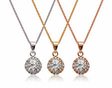De Lelu Sterling Silver Clear Cubic Zirconia Round Halo Pendant Necklace, 18""