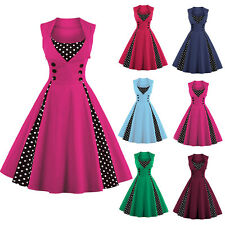 Women Vintage 50s Swing Solid Polka Dot Rockabilly Summer Evening Party Dress RI
