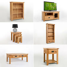 Rustic Oak Bookcase | Side Coffee Lamp Table | TV Cabinet Unit | Solid Furniture