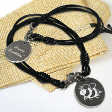 Personalised Engraved Leather Bracelet with Circle Steel Charm + Gift Bag
