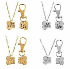Combo Bones BFF Best Friend Forever Dog Bone Tag Pendants Collar Necklace Chain