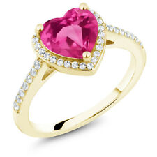 2.21 Ct Heart Shape Pink Mystic Topaz 18K Yellow Gold Plated Silver Ring