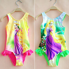 Kids Baby Girls Rapunzel Swimwear Swimming Costume Bikini Set Swimsuit Beachwear