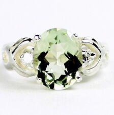 • SR243, Green Amethyst (Prasiolite) w/ 2 Accents, Sterling Silver Ladies Ring