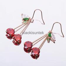 Gorgeous Round Crystal Cherry Fruit Dangles Earrings Women Ear Jewelry Gifts