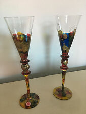 Royal Danube Hand Painted Mouth Blown Crystal Champagne Glasses Romania NEW