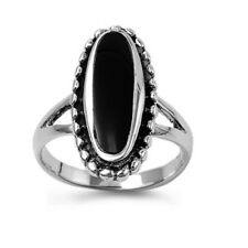 Fine Women 21mm 925 Sterling Silver Oval Simulated Black Onyx Ladies Ring Band