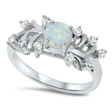 Fine Women 9mm 925 Sterling Silver Simulated White Opal & CZ Ladies Ring Band