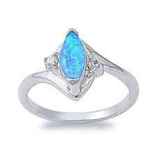 Fine Women 13mm 925 Silver Marquise Simulated Blue Opal Bypass Ladies Ring Band