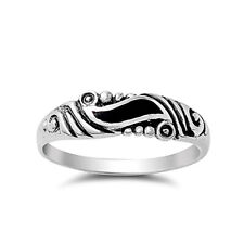 Fine Men Women 5mm 925 Silver Black Onyx Vintage Style Wedding Band Ring