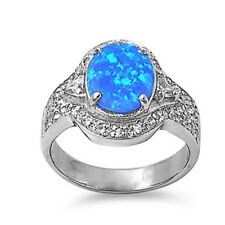 Fine Women 16mm 925 Sterling Silver Simulated Blue Opal Ladies Ring Band