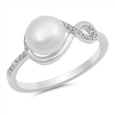 Fine Women 9mm 925 Sterling Silver Freshwater Cultured Pearl CZ Ladies Ring Band