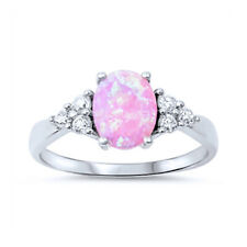 Fine Women 8mm 925 Sterling Silver Oval Simulated Pink Opal Engagement Ring Band