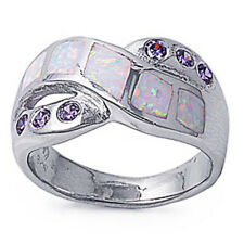Fine Women 11mm 925 Silver Simulated White Opal Purple CZ Band Ladies Ring Band
