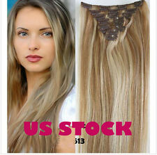 2× Real Remy Clip In Remy Human Hair Extensions #12/613 Brown Blonde 7 pcs set