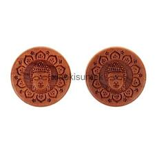 Pair Natural Wood Buddha Carved Double Flared Ear Plugs Tunnels Gauges Piercing
