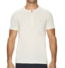 John Varvatos Star USA Men's Short Sleeve Peace Sign Henley Shirt Ivory NWT