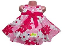 Woven Pink Floral Summer Cotton Party Girls Dress