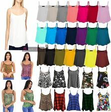 NEW WOMENS STRAPPY PLAIN PRINTED SLEEVELESS CAMI CAMISOLE TOP UK 8-26